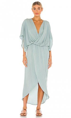Платье с асимметричным подолом charolette Young Fabulous & Broke. Цвет: зеленый