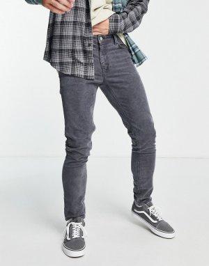 Серые вельветовые джинсы зауженного кроя -Серый ASOS DESIGN