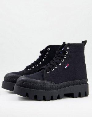 Черные ботинки на шнуровке с логотипом в виде флага -Черный цвет Tommy Jeans