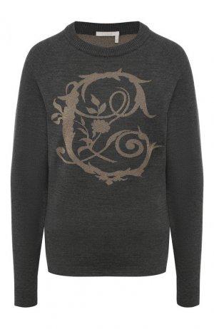 Шерстяной пуловер Chloé. Цвет: серый