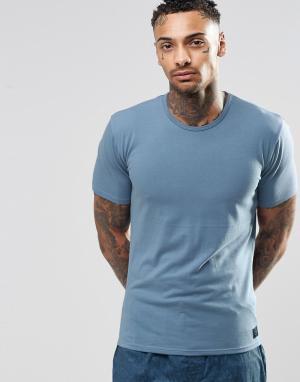 Хлопковая футболка слим Calvin Klein. Цвет: синий