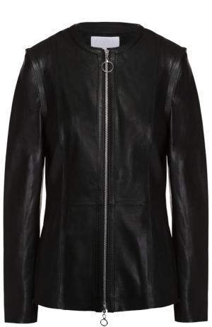 Кожаная куртка на молнии с круглым вырезом Escada Sport. Цвет: черный