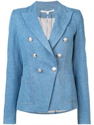 Двубортная джинсовая куртка Veronica Beard. Цвет: синий