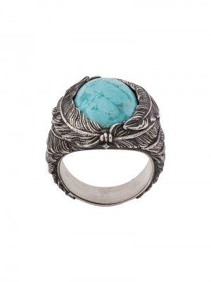 Перстень с виде пера камнем Nove25. Цвет: серебристый