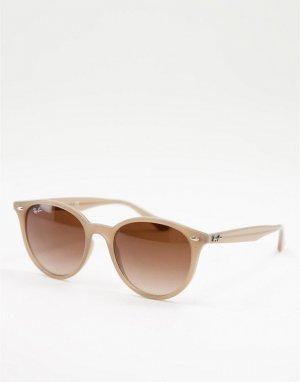Круглые солнцезащитные очки унисекс в бежевой оправе 0RB4305-Светло-бежевый цвет Ray-Ban
