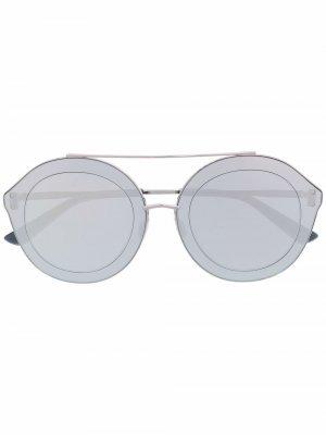 Солнцезащитные очки Evala в круглой оправе Christian Roth. Цвет: серебристый