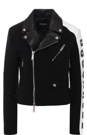 Шерстяная куртка на молнии с кожаной отделкой Dsquared2. Цвет: черный