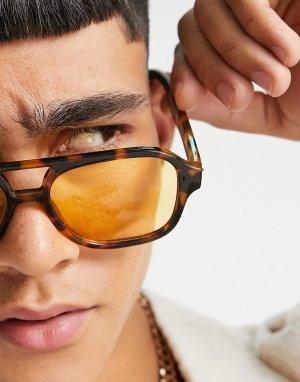 Солнцезащитные очки-авиаторы в черепаховой оправе с желтыми стеклами -Коричневый цвет ASOS DESIGN