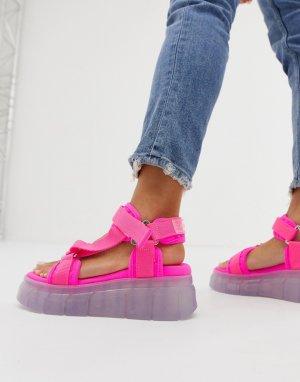 Неоново-розовые сандалии с толстой прозрачной подошвой Kaltur. Цвет: розовый