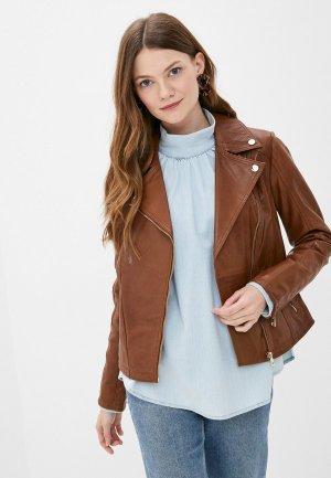 Куртка кожаная Снежная Королева. Цвет: коричневый