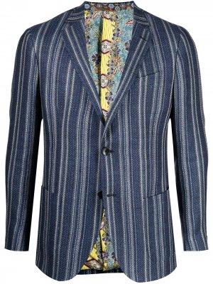 Однобортный пиджак в полоску ETRO. Цвет: синий