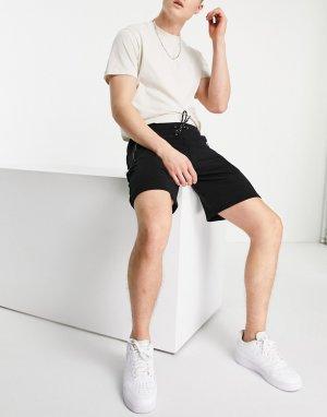 Черные трикотажные шорты карго -Черный цвет Bershka