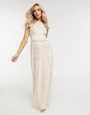 Свадебное платье макси кремового цвета с отделкой -Кремовый Lace & Beads