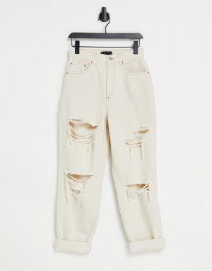 Свободные джинсы светло-бежевого цвета с винтажным кроем, завышенной талией и рваной отделкой -Светло-бежевый ASOS DESIGN