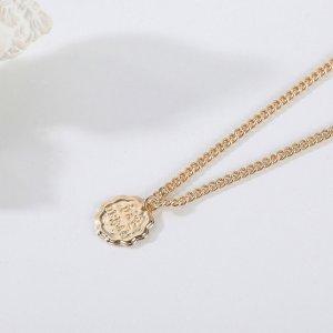 Ожерелье 18K Позолоченный с диском SHEIN. Цвет: золотистый