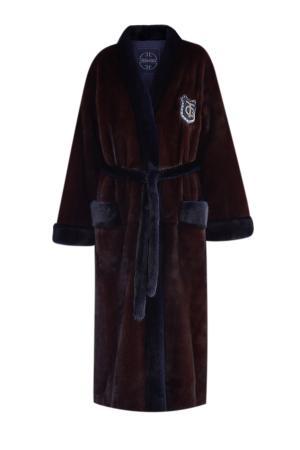 Шуба из меха норки в густом оттенке «бордо» с шалевым воротом и поясом GIULIANA TESO. Цвет: бордовый