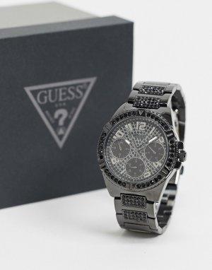 Черные часы с хронографом -Черный Guess