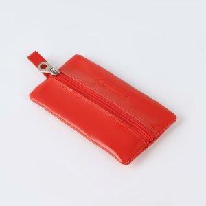 Ключница, длина 12 см, отдел на молнии, металлическое кольцо, цвет красный TEXTURA