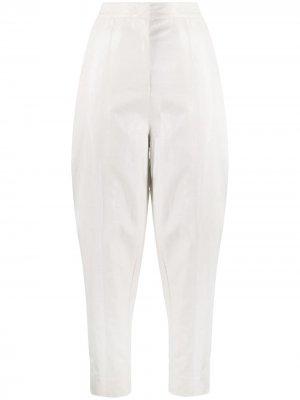 Зауженные брюки с завышенной талией Pinko. Цвет: белый