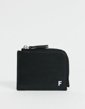 Бумажник на молнии из искусственной кожи -Черный цвет Fenton