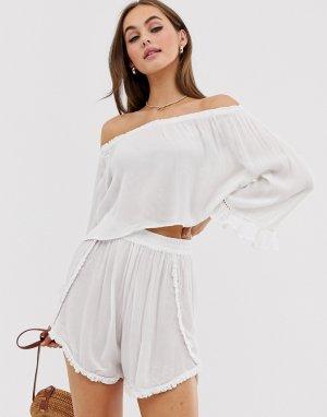 Пляжные фактурные шорты от комплекта -Белый South Beach