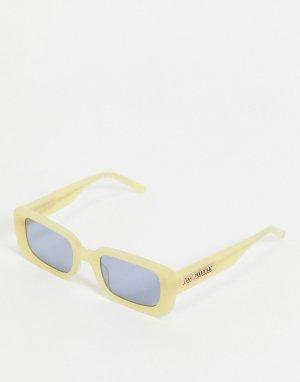 Квадратные солнцезащитные очки в пастельно-желтой оправе стиле ретро с логотипом на дужках -Желтый Hot Futures