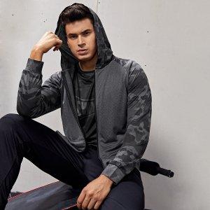 Мужской Спортивная куртка с камуфляжным принтом рукавом-реглан на молнии капюшоном SHEIN. Цвет: темно-серый