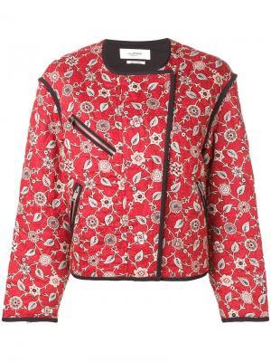 Куртка-бомбер с цветочным принтом Isabel Marant Étoile. Цвет: красный