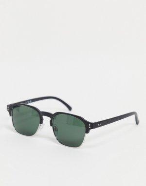 Черные солнцезащитные очки в стиле ретро -Черный цвет River Island