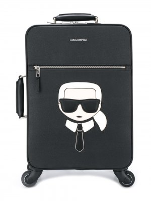Чемодан K/Ikonik с логотипом Karl Lagerfeld. Цвет: черный
