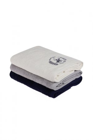 Набор банных полотенец, 3 шт. Beverly Hills Polo Club. Цвет: white, gray, blue