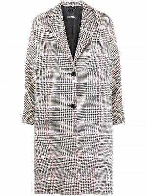 Однобортное пальто в клетку Karl Lagerfeld. Цвет: черный