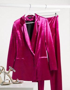 Бархатный строгий пиджак цвета фуксии -Розовый цвет AQAQ