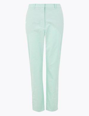 Хлопковые брюки чинос прямого кроя M&S Collection. Цвет: бледный аква