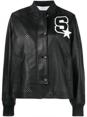 Куртка-бомбер Ibizar с перфорацией Simonetta Ravizza. Цвет: черный