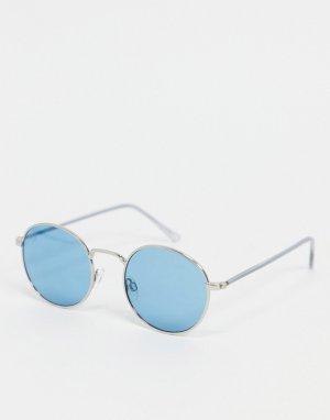 Круглые солнцезащитные очки голубого цвета в стиле унисекс -Голубой Jeepers Peepers