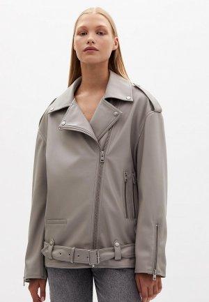 Куртка кожаная Lime. Цвет: серый