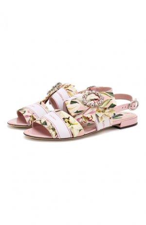 Текстильные сандалии Bianca Dolce & Gabbana. Цвет: розовый