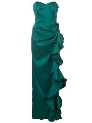 Вечернее платье без бретелей с оборками Badgley Mischka