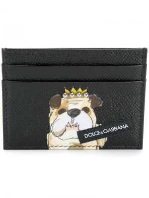 Визитница с собакой в короне Dolce & Gabbana. Цвет: чёрный