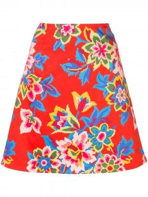 Юбка мини с цветочным узором Carolina Herrera. Цвет: красный