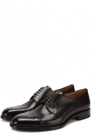 Кожаные дерби на шнуровке Brioni. Цвет: темно-коричневый