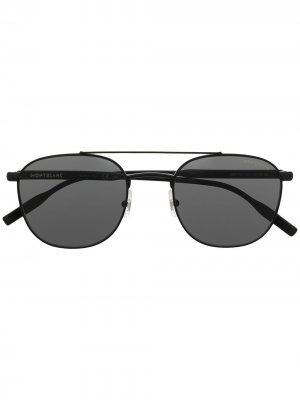 Солнцезащитные очки в круглой оправе Montblanc. Цвет: черный