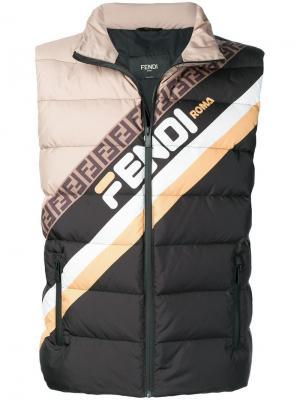 Пуховый жилет дизайна колор-блок с логотипом Fendi. Цвет: черный