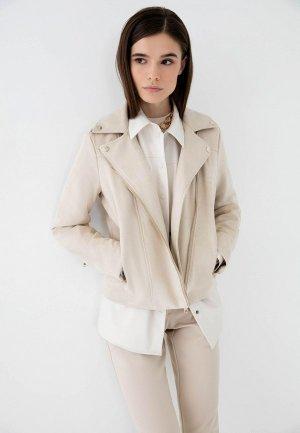 Куртка кожаная Zarina Exclusive online. Цвет: бежевый