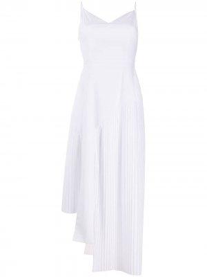 Платье-комбинация асимметричного кроя с плиссировкой Each X Other. Цвет: белый