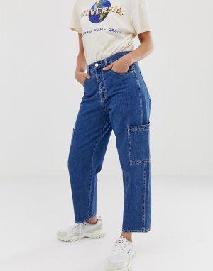 Прямые джинсы с большими карманами Pull&Bear. Цвет: синий