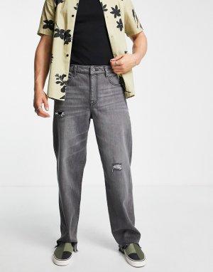 Мешковатые джинсы выбеленного черного цвета с потертостями и рваными краями -Черный цвет ASOS DESIGN