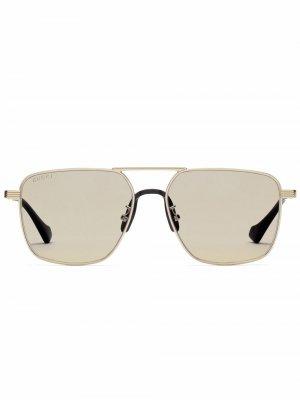 Солнцезащитные очки-авиаторы Gucci Eyewear. Цвет: синий