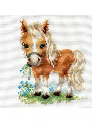 Набор для вышивания Белогривая лошадка  12х14 см. Алиса. Цвет: белый, желтый, рыжий